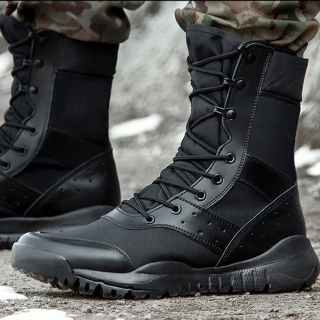 Summer Combat Boot Men Women Climbing Training Lightweight Waterproof Tactical Boots Outdoor Hiking Breathable Mesh Army Shoes 1