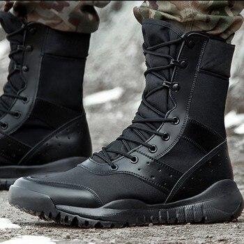 Botas de combate de verano hombres mujeres escalada entrenamiento ligero impermeable táctico botas al aire libre senderismo transpirable malla ejército zapatos
