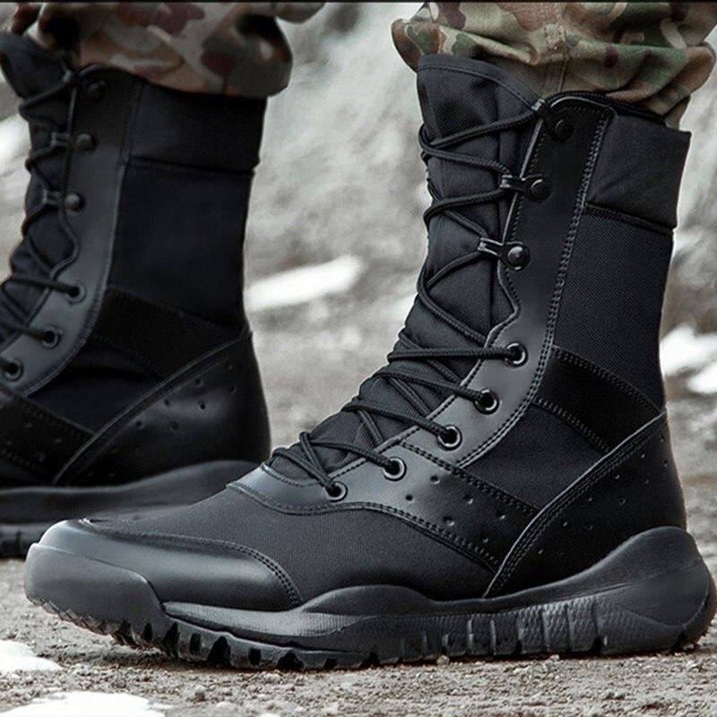 Yaz Savaş Boot Erkekler Kadınlar Tırmanma Eğitimi Hafif Su Geçirmez Taktik Botları Açık Yürüyüş Nefes Örgü Ordu Ayakkabı