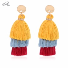 Badu 3 Layers Cotton Tassel Earring Women Vintage Bohemian Long Drop Earrings Fashion Jewelry Golden Alloy Pendientes