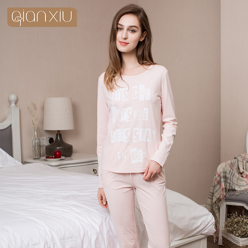 e22e3d238a ... release date Qianxiu Real Sale Solid 100% Cotton Pajamas Ladies Pyjamas  Women Modal Homedress Spring ...