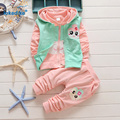 3 pcs Vest Coat Pants Children's Clothing Suits 2017 New Toddler Baby Girls Clothes Set  Hooded Autumn Kids Girls Clothes T2919