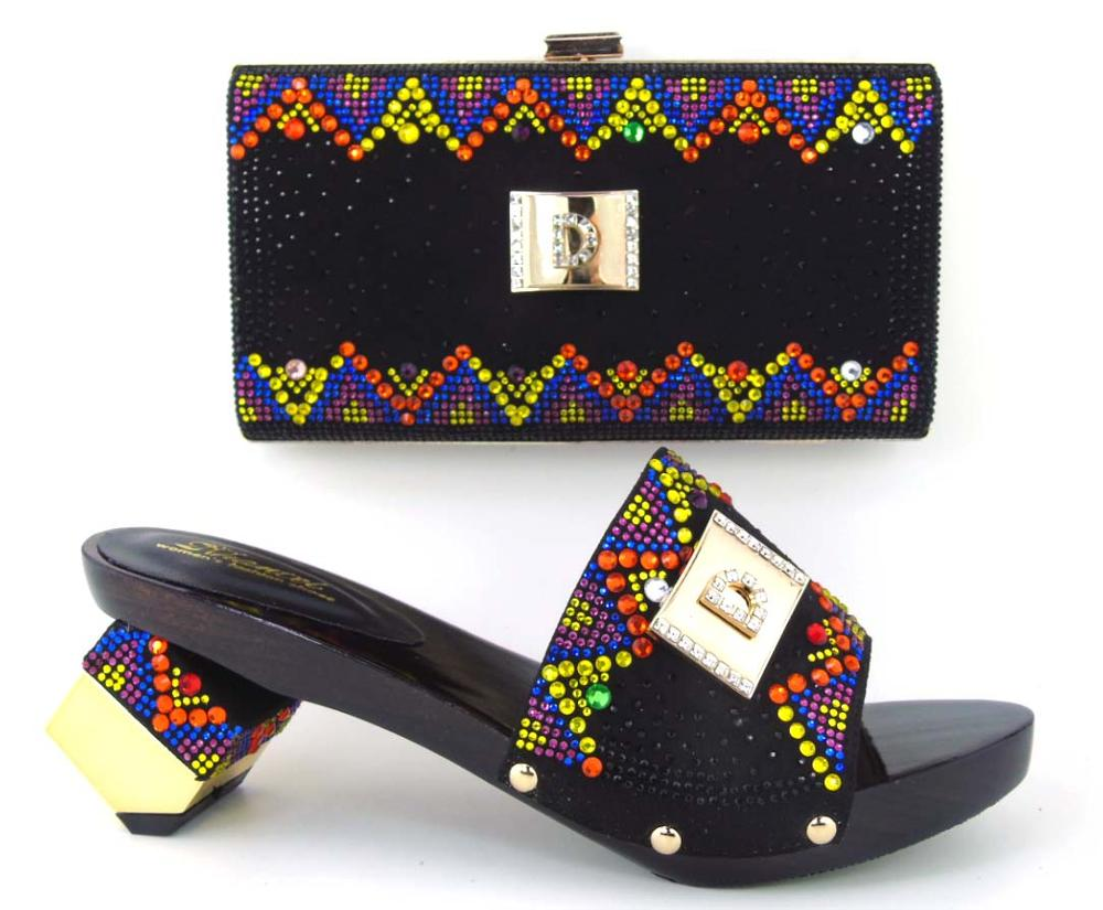 ФОТО  Fashion Pattern African Shoes And Bag Set Full Stones Latest Woman High Heels Matching Purse Free Shipping BLACK