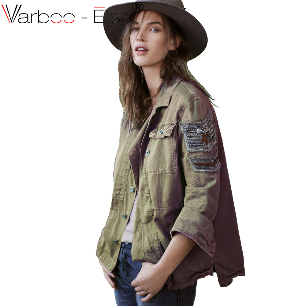 VARBOO_ELSA army green casual   basic     jacket   coat women   jacket   2017 autumn single breasted vintage coats ladies rock punk outwear