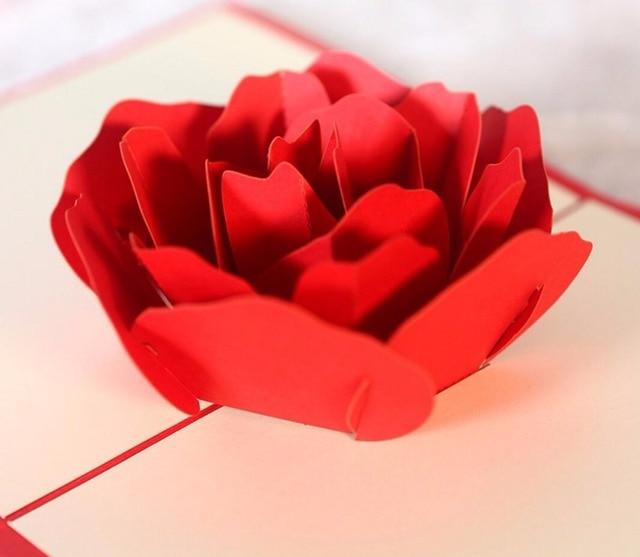 10 Stücke 3D Rote Rose Blume Handgemachte Kirigami Origami Hochzeit  Einladungskarten Greeding Geburtstagskarte Postkarte
