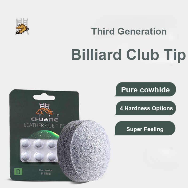 2019 Chuang Merk Cattlehide 10.5mm Snooker Cue Tip S M H MH China