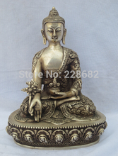 Coleccionables Decorado Antiguo Trabajo Hecho A Mano de 9.9 PULGADAS de Plata de Tíbet Tallado estatua de Buda/Manjusri Bodhisattva Escultura antigua 02