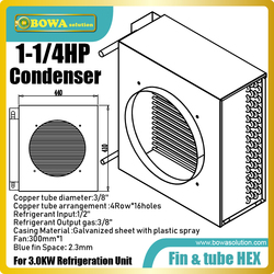 1.25HP fin & tube heat exchanger suitable for commerce display cabinets, such as flower cabinets, meat cabinets, walk-in coolers