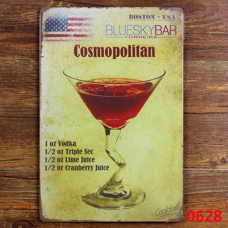 Cosmopolitan cocktail man cave TIN SIGN American style iron painting ...