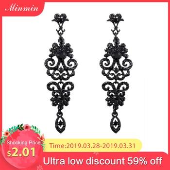 366c8d2ea825 Minmin Vintage negro pendientes para las mujeres oro Color plata de  diamantes de imitación pendientes de gota joyería de la boda de MEH948