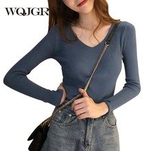 WQJGR Autumn and Winter V-neck Knitted Long Sleeve Knitted Women Sweaters and Pullovers Fashion Korean Sweater