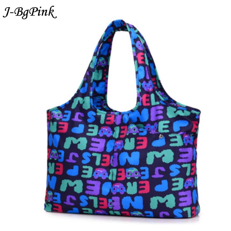 Bolsa de playa para las mujeres de la moda de vacaciones bolso de gran capacidad bolsa de nylon impermeable para las compras bolso de hombro de las mujeres Bolsa de pañales Bolsa