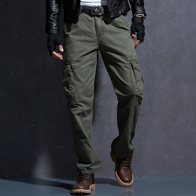 fe83c00b Military Cargo Pants Men Men's Army Green Pants Mens Tactical Militari  Baggy Trousers Winter Warm Denim Jeans Pants.FA03