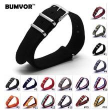 купить 18 20 22 24 mm Brand Army Sports nato fabric Nylon watchband accessories Bands Buckle belt For 007 James bond Watch Strap black по цене 102.26 рублей