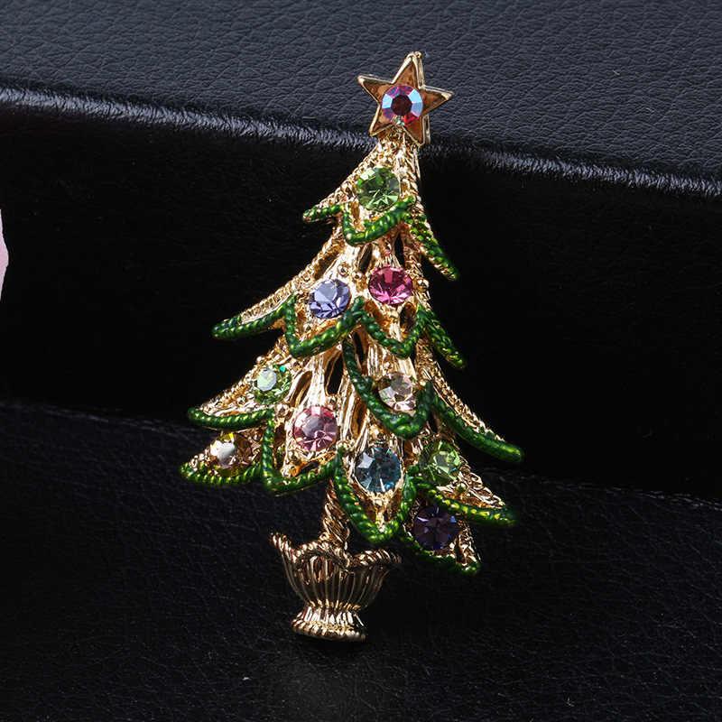 Cindy Xiang Colorful Alloy Pohon Natal Bros untuk Wanita Berlian Imitasi Vintage Pin Perhiasan Fashion Gaun Aksesoris 2018