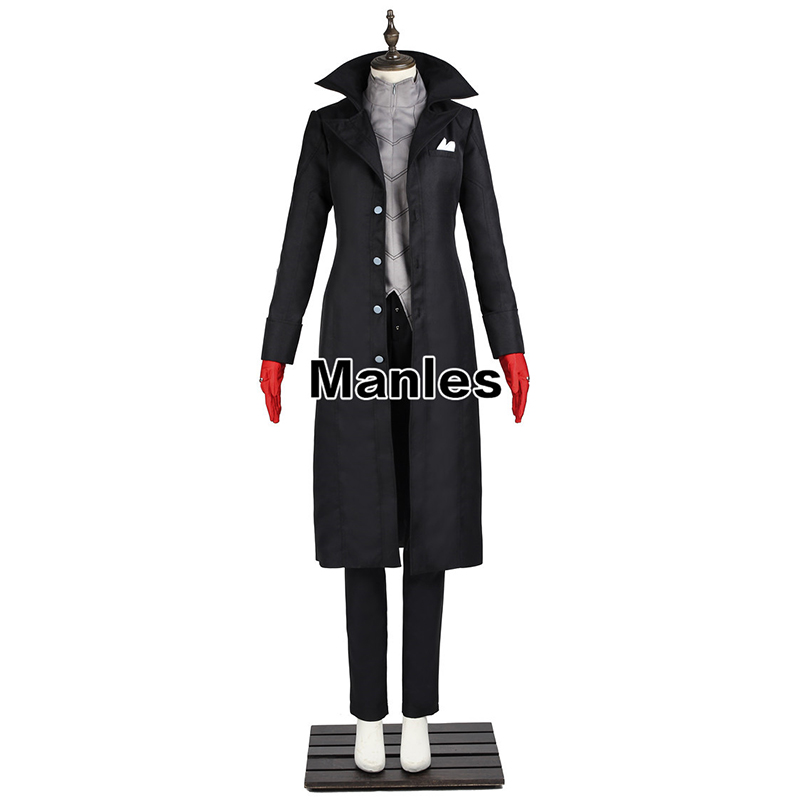 Persona 5 Cosplay Protagonist Kaitou Costume Anime Uniform Long Coat Trench Persona Suit Jacket Halloween Costume Men Customized twist bow belt embellished slim fit top