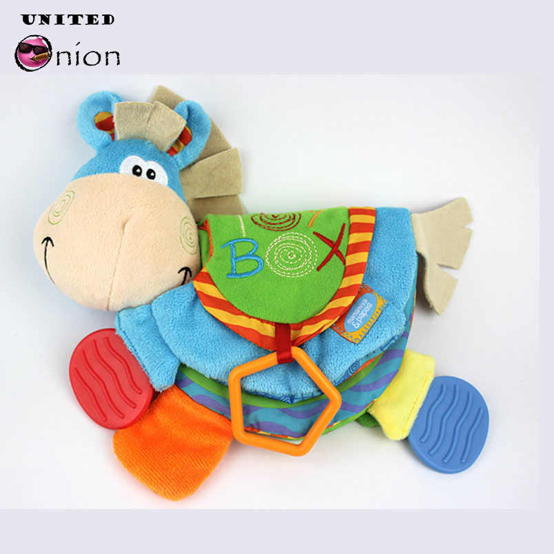 Baby cloth book Rattles donkey Teether Plush Doll  kid gift Toddlers infant Educational pluzz soft Animal bb set Book Toy infant