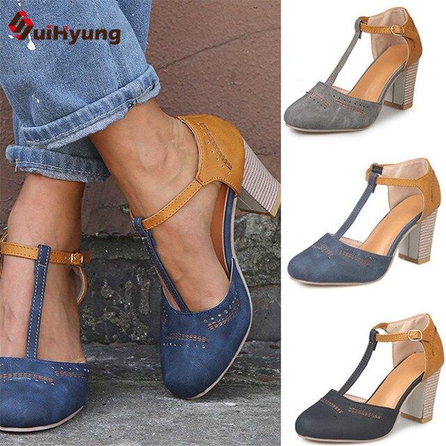 Moda De Zapatos Tacón Cuero Grueso Verano Alto Sandalias Nuevas Color Tamaño Gran Mujer Hechizo Cómodas Pu DbeWEH29IY