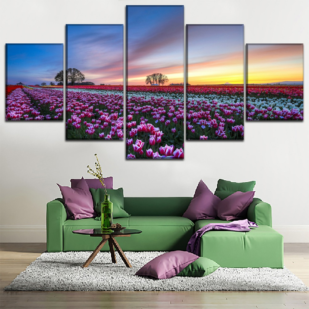 5 Pieces Tulip Flower Field Poster Top-Rated Canvas Print Painting For Living Room Wall Art Modular Picture Decorative Framework