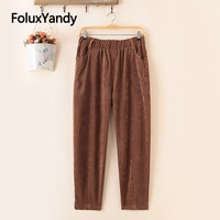 Corduroy Harem Pants Women Trousers Casual Loose Winter Autumn Pants Plus Size 5 XL SWM1323