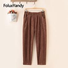 Pantalon sarouel velours côtelé femme pantalon décontracté ample hiver automne pantalon grande taille 5 XL SWM1323