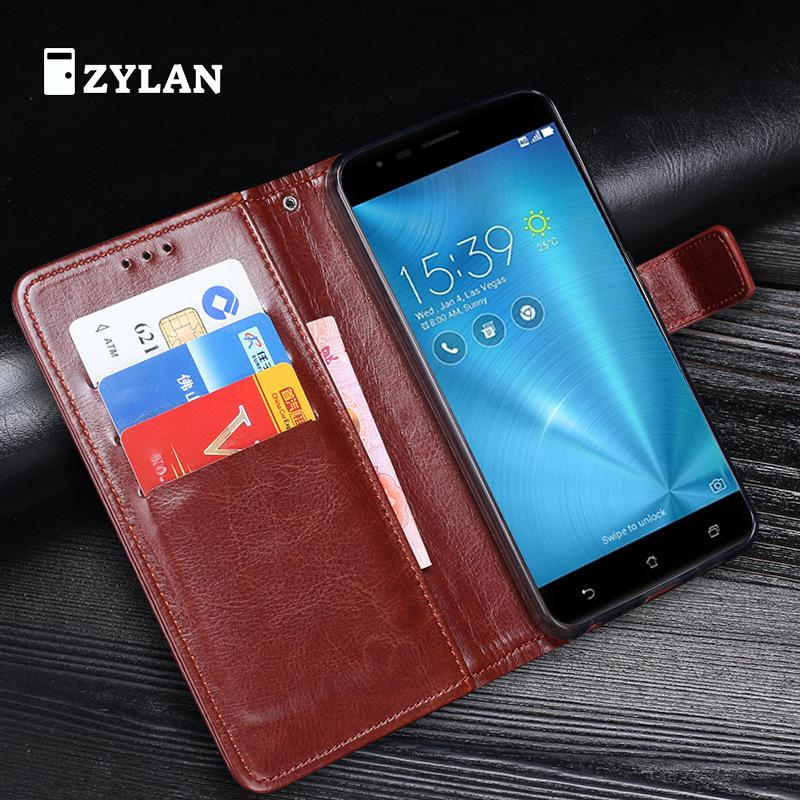 ZYLAN Cover Case for Asus Z01HDA Case 5.5 Leather Wallet Cover Phone Case For Asus Zenfone 3 Zoom ZE553KL & Strap & Stylus