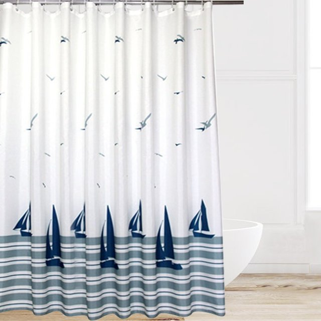 Hot Sale Europe Style Beach Sailboat Seagull Pattern Waterproof Shower Curtain Polyester Fabric Home Bathroom Decor