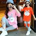 Chándal para Niñas Niños ropa de Bebé Niña Ropa y Accesorios Niños Vestidos de Traje de La Escuela de Algodón Larga Camiseta Establece G213