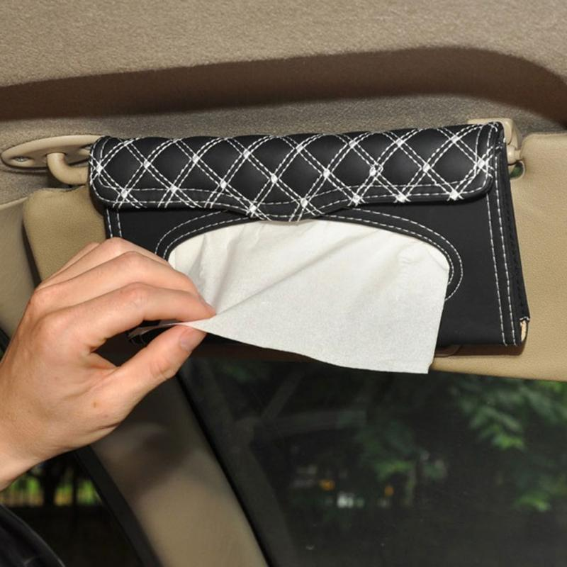 Car Sun Visor Leather Tissue Boxes For Audi Ford BMW Benz Volkswagen Cadillac Land Rover Auto Interior Decoration Accessorie
