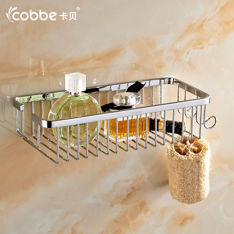 Square Shower Caddy 304 Stainless Steel Bathroom Accessories Wall Shelf Shampoo Shelf Bathroom Rack Rattan Basket CobbeT8133-90 304 stainless steel 280 140 500mm bathroom shelf bathroom products bathroom accessories 29016