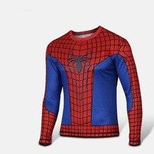 Moto Free Shipping New 2015 Tight quick-drying men t-shirts printed long sleeve T-shirt Quick dry T-shirt brand T-shirt spider-m