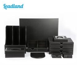 Deluxe Oficina escritorio 9 piezas pluma lápiz titular Mousepad escritorio organizador caja tejido dispensador de Cenicero T04 negro/ marrón