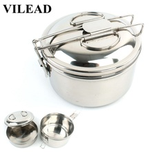 VILEAD Stainless Steel Camping Cookware Outdoor Picnic Pot Kit Hiking Tableware Cover Cooking set Portable Cutlery Utensils