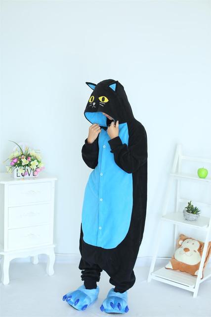 Kigurumi Midnight Cat Onesies Black Cat Pajamas For Unisex Adult Pajamas Cosplay Costume Animal Onesie Sleepwear Jumpsuit