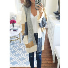 цены Contrast Color Block Longline Cardigan Women Pockets Side Long Sleeve Autumn Winter Warm Thick Open Front Sweater