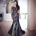 Sexy Black Lace Custom Evening Dress Tulle Boat Neck Backless Wedding Gown Long Sleeve Mermaid Prom Customized