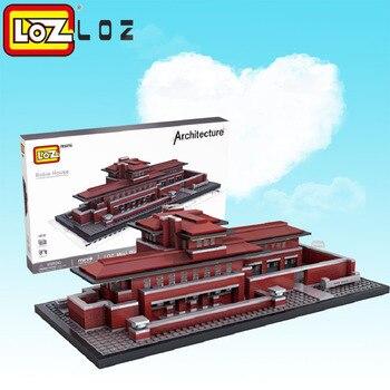 LOZ Blocks Architecture Robie House Model Build Kits Mini Blocks Diy Building Toys World Famous Architectures Villa Blocks 1018 21035 lego
