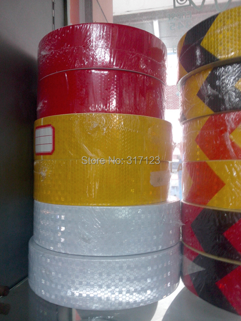 (6 Roll/LOT) Wholesale 45m/rolls glisten  Lattice Reflective Tape yellow red white Adhesive Hazard Warning Tape