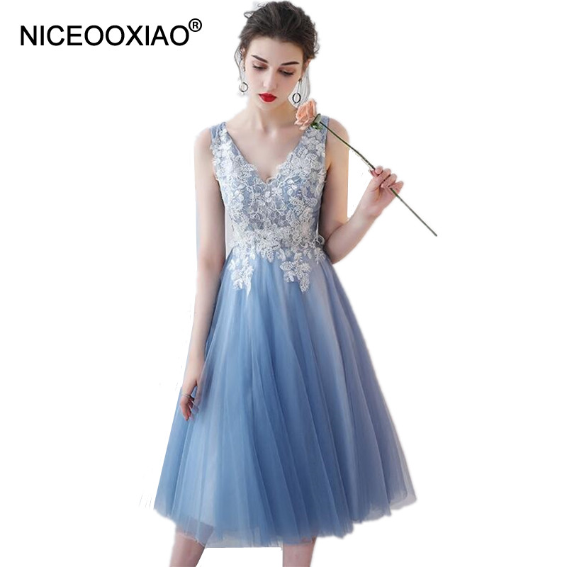 NICEOOXIAO Bridesmaid Dresses  Banquet Elegant Lace Flower  Sleeveless Sexy Transparent A-line Party Formal Dress Custom