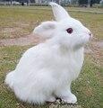 Animal de la simulación 22X15X13 CM blanco conejo muñeca de juguete emulación de polietileno y pieles artesanía casa Decoración prop regalo w529