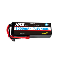 HRB Lipo Battery 2S2P 7.4V 8000mah 100C Hard Case For Traxxas Airplane Car Truck RC Parts