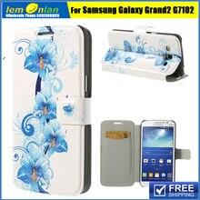Чехол кожаный, 16 цветущие цветы серии шаблоны магнитный стойка для Galaxy гранд 2 дуэта G7102