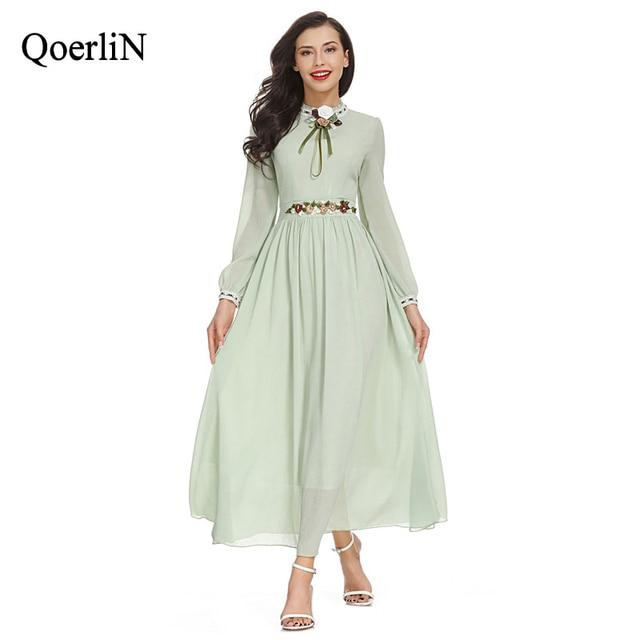 2e3203750fa6 QoerliN Heavy Embroidery Floral Vintage Maxi Dress Light Green Long Sleeve  Mesh Fashion Elegant Evening Party Sweet Vestidos New