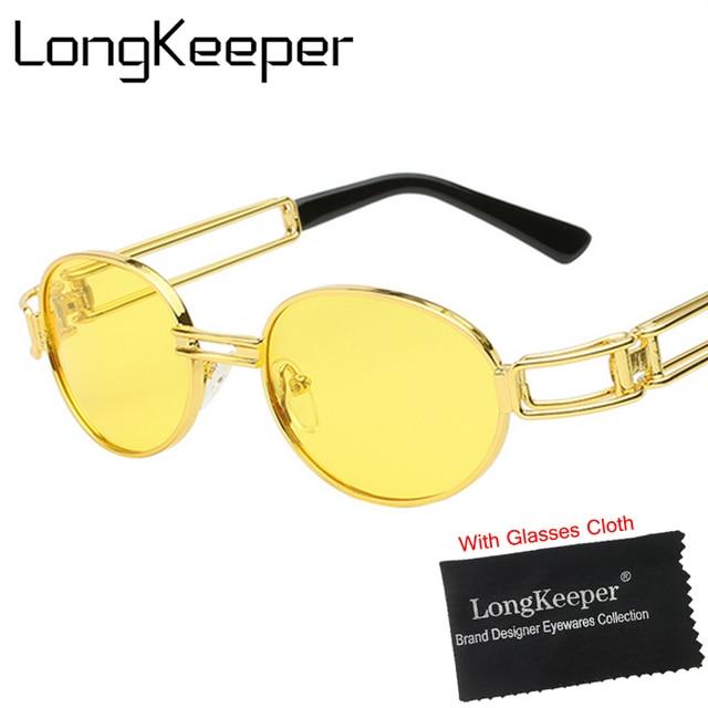 142ce9f40c LongKeeper Steampunk gafas de sol claro lente gafas gótico Flat Top Vintage  gafas redondas hombres mujeres