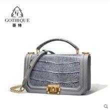 gete  crocodile  Leather 2019 new slant straddle bag for women stylish crocodile  belly lady handbag цены