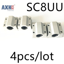 Linear Rail Axk Cnc Router Parts High Quality 4pcs/lot Sc8uu Scs8uu 8mm Linear Ball Bearing Block With Lm8uu Bush, Pillow 16mm linear block shafts sc16uu scs16uu cnc router diy cnc parts metal linear ball bearing pellow block linear unit shafts