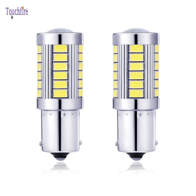 2pcs LED Car Bulb 1156 BA15S 12V P21W Canbus 5630SMD Error Free Brake Reverse Signal Light For VW Touran Seat Leon Skoda Ford