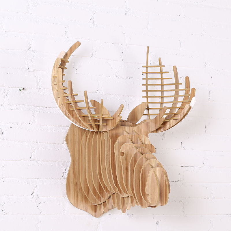 1 Piece Art Home Wall Decoration Wooden Animals Head Hanging Wood Crown Moose Deer Head For Living Room Decor IW-WD0171 Piece Art Home Wall Decoration Wooden Animals Head Hanging Wood Crown Moose Deer Head For Living Room Decor IW-WD017