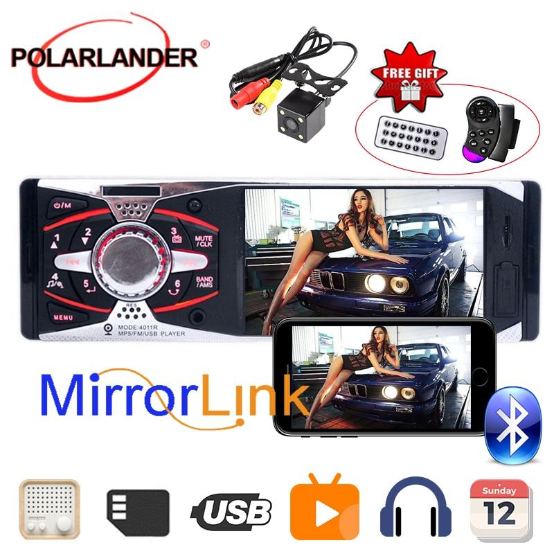 + Lecteur de cassettes radio caméra USB SD AUX 1Din unité de tête d'autoradio 4.1