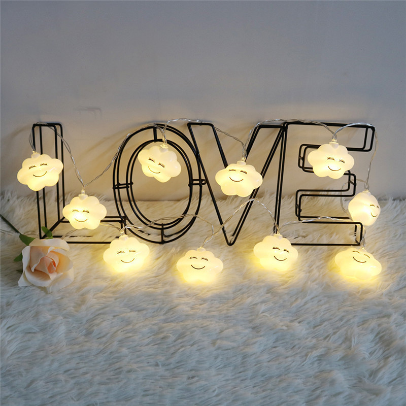 Night Lights 10Leds LED Cloud Smile Face String Lights Battery Powered Indoor Ambient Lighting Garden Party Wedding Decoration